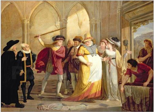 Falstaff in disguise led out by Mrs Page, Act 4 Scene 2, in The Merry Wives of Windsor, by James Durno