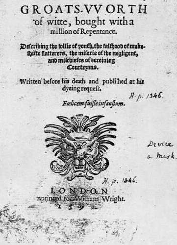 Title page of 1592 publication of Greene's Groatsworth of Wit, [Public domain], via Wikimedia Commons