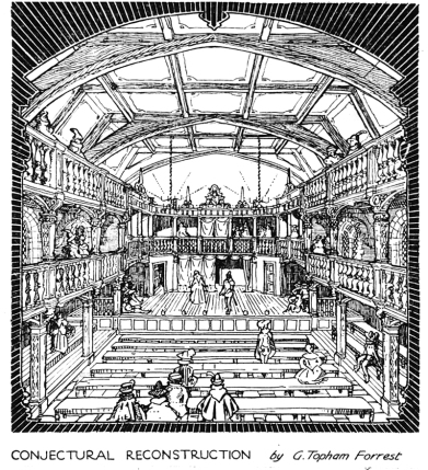"G. Topham Forrest - ""Blackfriars Theatre: Conjectural Reconstruction"" by G. Topham Forrest, The Times, 21 November 1921, p. 5. Drawing of the second Blackfriars Theatre according to legal descriptions of the times"