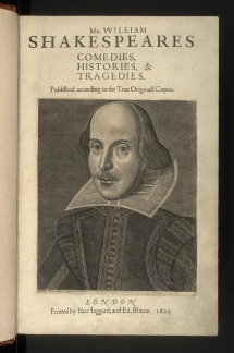 The title page of Shakespeare's First Folio.